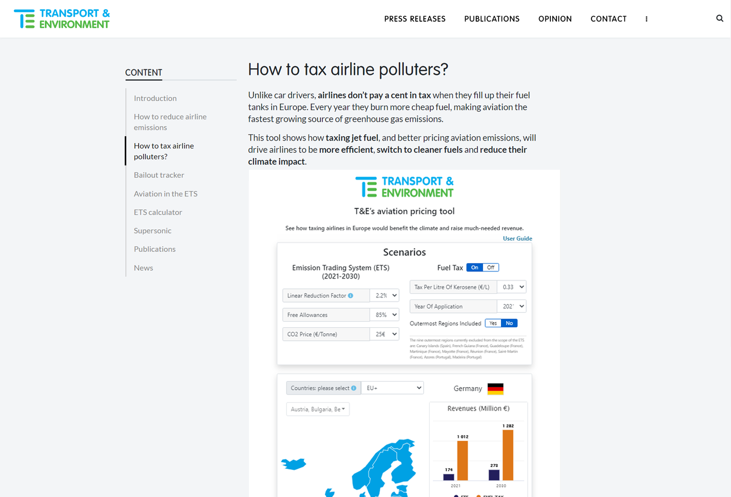T&E's Aviation Pricing Tool Main Page Inscope